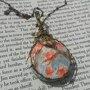 Japanese Cherry Blossom Jewelry - Pink Jewelry - Textured Art - Blue Necklace - Landscape Painting - Wire Jewelry - Gold Necklace - Flower