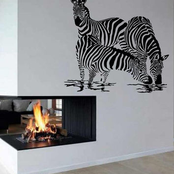 Jungle Safari Animals Wall Decals Zebra Drinking Water Vinyl Sticker Decal Interior Design Living Room Wall Decor Home Decor Art Mural KG675