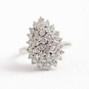 Diamond Cluster Ring - Size 7 3/4 Retro 1960 14k White Gold 2.70 CTW Statement - Teardrop Pear Fine Engagement Anniversary Appraisal Jewelry