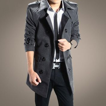 Promotion 2016 new winter fashion boutique male trench coat / Men's casual long double-breasted dust coat free shipping