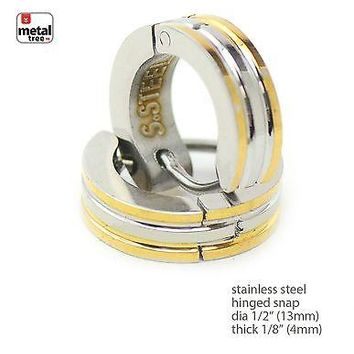 Jewelry Kay style Men Hip Hop Fashion Stainless Steel Huggie Hoop Hinged Snap Earrings SSHE 038TT