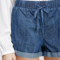 Cuffed Drawstring Denim Shorts