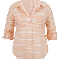 Plus Size - Striped Button Front Long Sleeve Shirt - Mango Combo