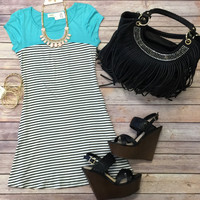 Color Blocked Striped Dress: Mint
