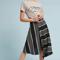 Nautical Striped Midi Skirt