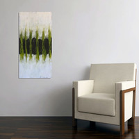 painting abstract green modern black original painting white vertical lines Leah Fitts Verdant free shipping