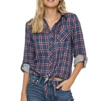 Sunday Stevens Checkered Tie Front Top