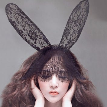 Novelty Adult Sexy Black Eye Hair Accessories Mask Bunny Ears Veil Rabbit Ear Headb s Women Lace Sexy Hair B  SM6