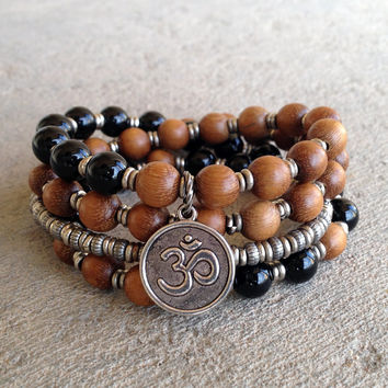 Patience, Onyx and wood 54 bead wrap mala bracelet