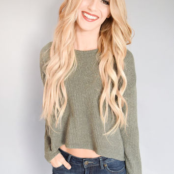 Chloe Knit Crop Sweater Olive