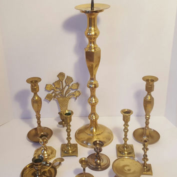 Brass Candlestick Holders, Vintage Candle Holders, Ornate Brass Accents, Home Decor, Vintage Wedding, Photo Props, Table Decor, Unique Gifts