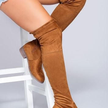 Mandy Over The Knee Boots - Camel