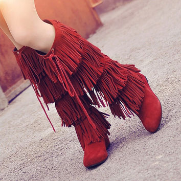 Genuine Leather Black Wine Red Suede High Heel Wedge Fringe Tall Long Knee Boots For Women 2013 Winter Black Friday On Sale