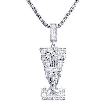 "Jewelry Kay style Iced Out Silver Tone Egyptian Pharaoh Pendant 22"" Box Chain Necklace BSH 13127 S"