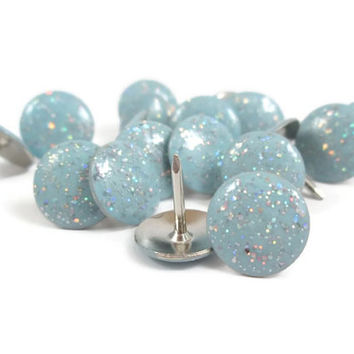 18 Light Blue Glitter Thumbtacks - Light Blue Push Pins - Decorative Push Pins - Glittery Thumb Tacks - Cork Board Decor