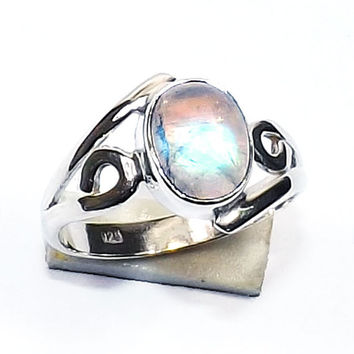Sterling Silver Ring - Rainbow Moonstone Ring - Moonstone Silver Ring - Sterling Silver Jewelry - Gemstone Jewelry - Handmade Silver Ring