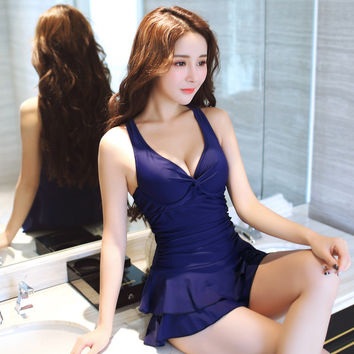 New 2016 Women Swimsuit Solid Push Up Skirted Bathing Suit Padded One Piece Strappy Ruched Beach Dress Sexy Ladies Swimwear