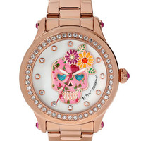Betsey Johnson Ladies Floral Skull Motif Rose Gold Tone Watch