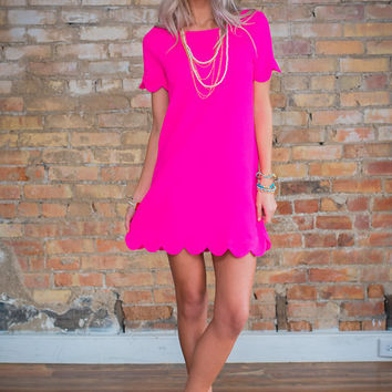 Scallop Me Up Dress Neon Pink