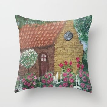 A Cozy Cottage Throw Pillow by Lindsay