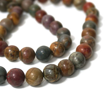 10mm Red Creek Jasper,  round gemstone beads, HALF strand (884s)