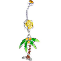 Citrine Gem PALM TREE Dangle Belly Ring | Body Candy Body Jewelry