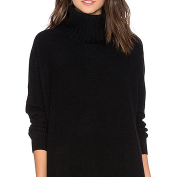 White + Warren Wedge Turtleneck Sweater in Black