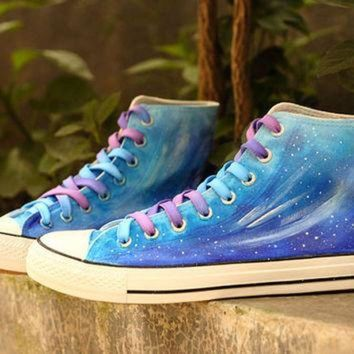 VLXZRBC Blue Gradient Galaxy shoes,Vans sneakers,star ombre women shoes,best gift