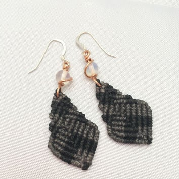 Charcoal Woven  Macrame Earrings