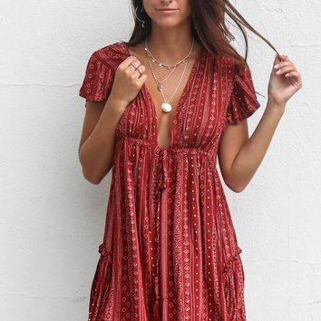 Choosing You Boho Wine Ruffle Tie Front Dress