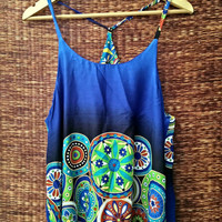 Blue Hippies Tank tops Boho Festival fashion colorful deep armholes Bohemian Ethnic print Styles fabric Clothing Summer Clothes Gift for her