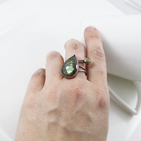Green Labradorite Ring, Leaf Ring, Adjustable Ring, Open Ring, Copper Ring, Gemstone Ring