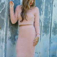 Allure Me Dusty Pink Fuzzy Mock Neck Sweater & Pencil Skirt Set