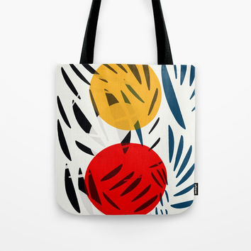 Yellow and Red Abstract Art Graphic Design Tote Bag by Visual Art by Emmanuel Signorino