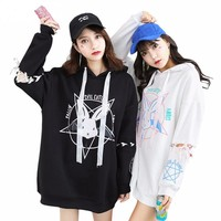 Women Harajuku Two style Sweatshirt For Women Pattern Kwaii Ladies Hoody Shirts Long Loose Tracksuits Autumn Girl Hoodies