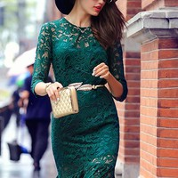 $ 60.89 Ericdress Solid Color Mermaid Lace Dress