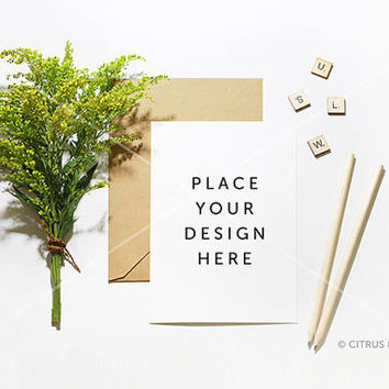 Styled Stock Photography - Product Presentation - Invitation Mock Up  -  Goldenrod and Blank Portrait Card on White Desktop