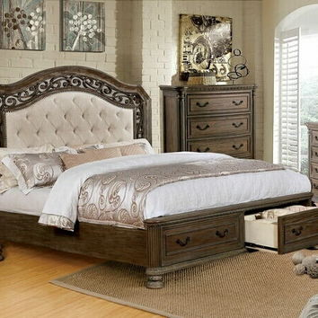 5 pc Persephone II collection rustic natural finish wood with upholstered tufted headboard queen bedroom set