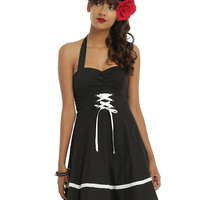 Black & White Lace-Up Halter Dress