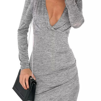 Grey Deep V-Neck Long Sleeve Open Back Wraped Mini Dress