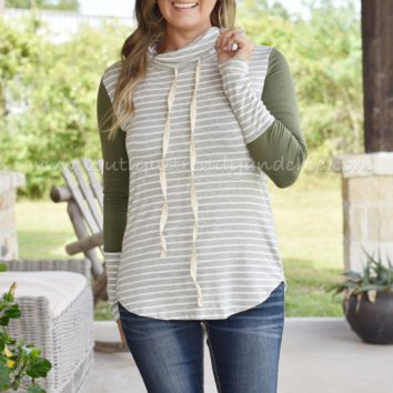 COMING HOME STRIPED COWL NECK TOP