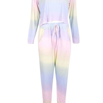 Ombre Long Sleeve And Jogger Lounge set | Boohoo
