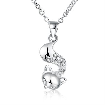 lureme Cute Jewlery 925 Silver Small Fox Pave Cubic Zirconia Charming Necklace for Women Birthday Gift (nl004039)