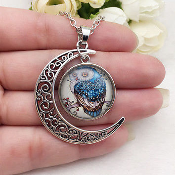 NEW owl Glass Hollow Moon Shaped Pendant Silver Tone Necklace