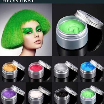 120g Unisex Hair Color Wax Mud Hair Dye Molding Hair Styling Coloring Paste Grandma Grey Green Hair Dye Wax Ceam Harajuku Style