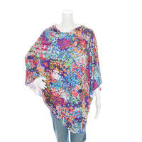 Bright Floral Poncho/ Nursing Cover / Lightweight Shawl / One shoulder flowing tunic top / Maternity Poncho / Gift for her