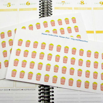 Great Movie Night Planning Stickers For Your ECLP Life Planner Movie Night Stickers / Popcorn Stickers
