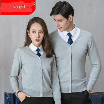 2018 Women sweater Grey black solid color fall winter clothes plus size Business Men Cardigans Work office ladies wear