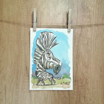 Zebra original watercolor painting, african animal art, animal painting