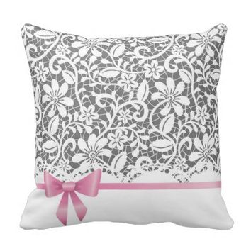 Lace,ribbon,pink,white,multicolour,girly,cute,chic Throw Pillow
